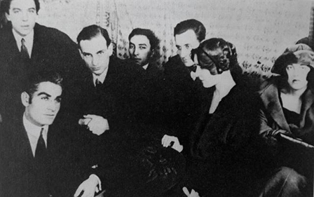 L. Gudiashvili (The Bottom of the Left Corner), A. Breton, Ph. Soupault, L. Aragon. Gudiashvili's Studio. Paris