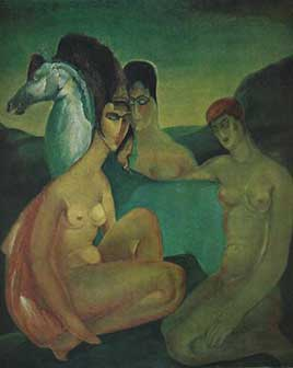 Lado Gudiashvili. With Blue Horse. 1920. Canvas, Oil. © Ch. Gudiashvili