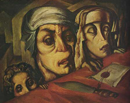 Lado Gudiashvili. Evil Family. 1929. Canvas, Oil. © Ch. Gudiashvili