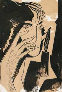 Lado Gudiashvili. Portrait of Pasternak. 1966. Paper, Indian Ink. © Ch. Gudiashvili